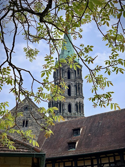 Bamberg, church through the trees