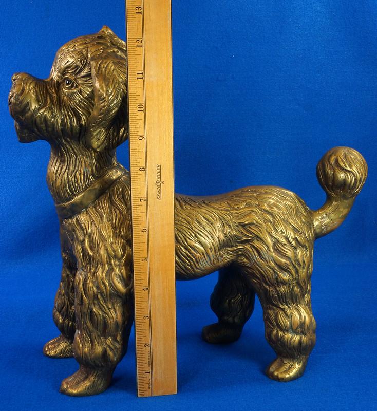 RD28815 Huge 13 inch Vintage Brass Poodle Dog Standing Sculpture DSC01113