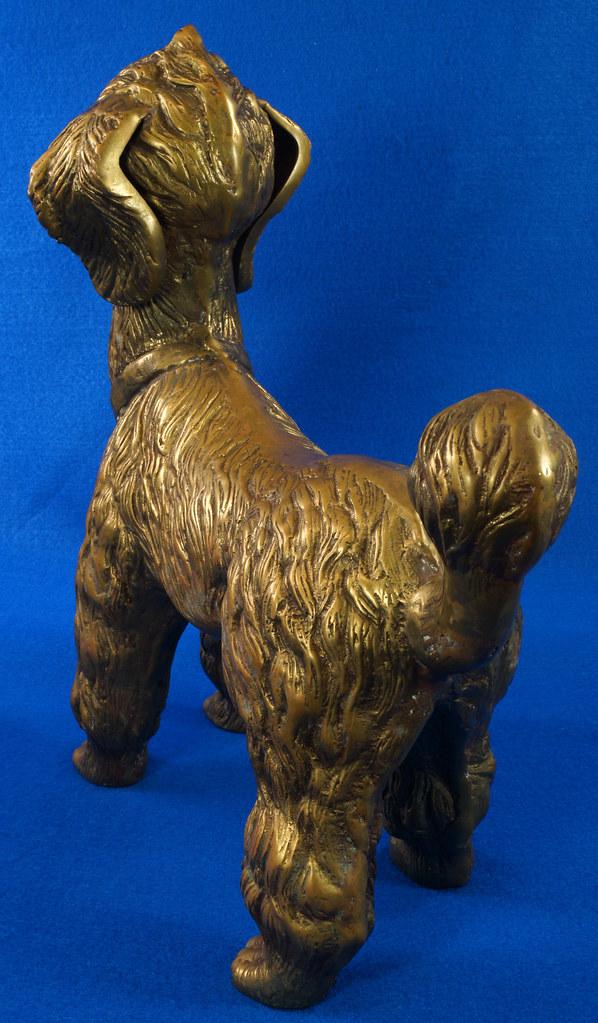 RD28815 Huge 13 inch Vintage Brass Poodle Dog Standing Sculpture DSC01109