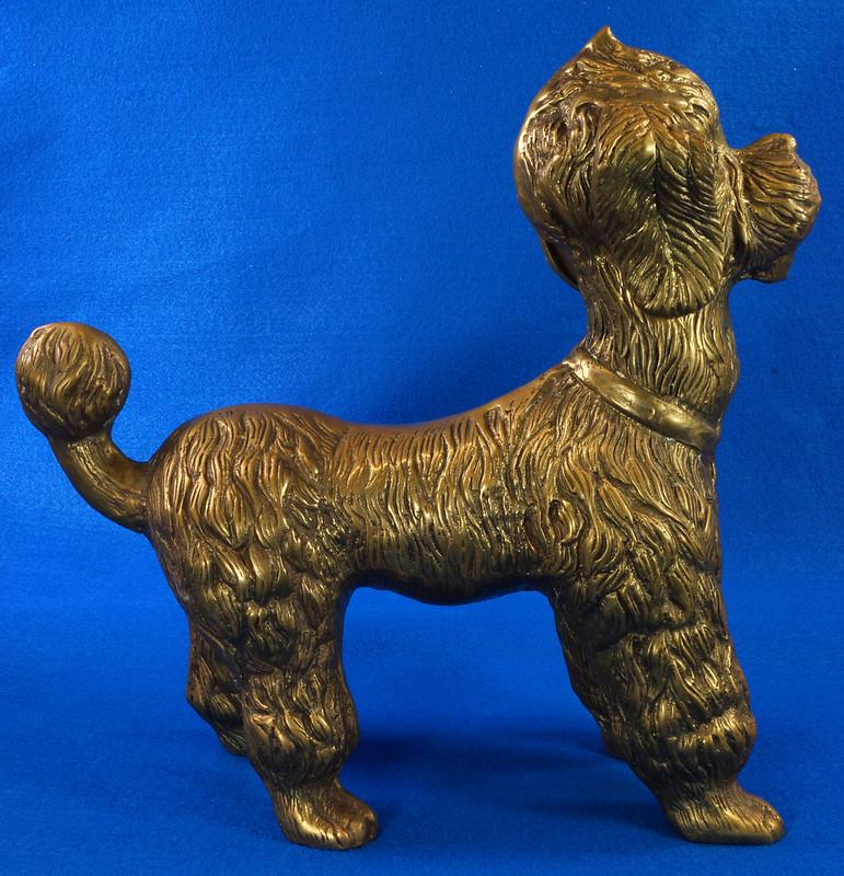 RD28815 Huge 13 inch Vintage Brass Poodle Dog Standing Sculpture DSC01107