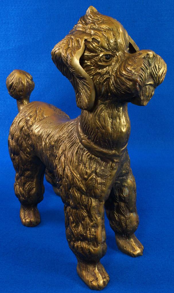 RD28815 Huge 13 inch Vintage Brass Poodle Dog Standing Sculpture DSC01106
