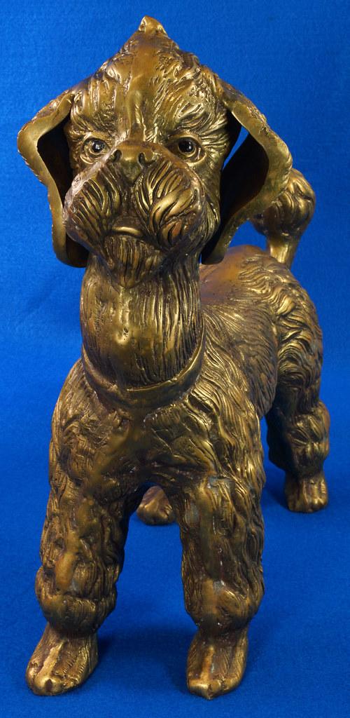 RD28815 Huge 13 inch Vintage Brass Poodle Dog Standing Sculpture DSC01105