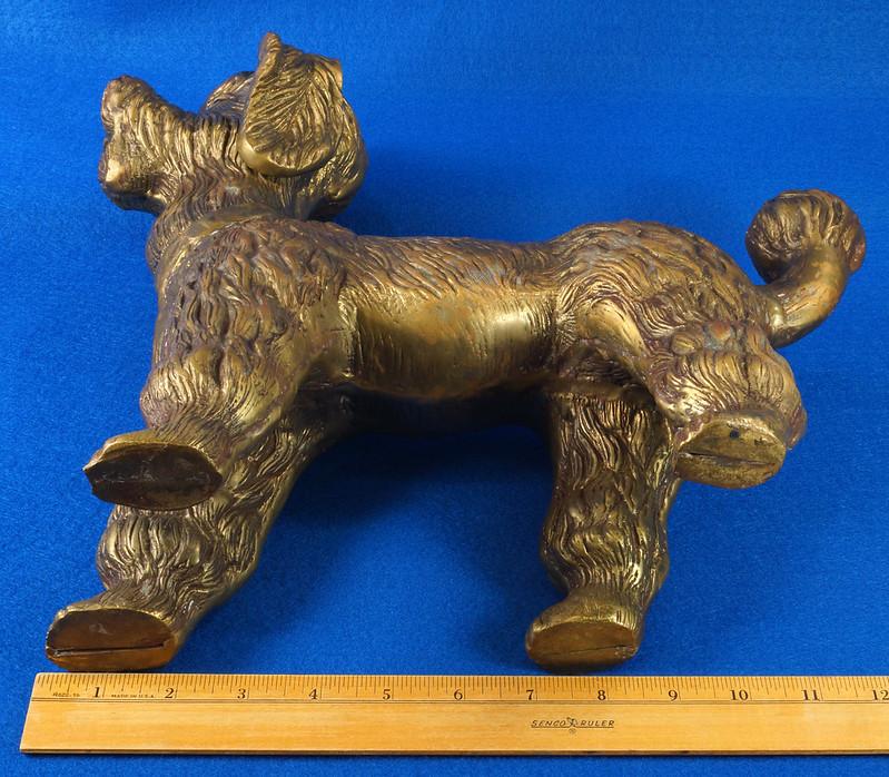 RD28815 Huge 13 inch Vintage Brass Poodle Dog Standing Sculpture DSC01103