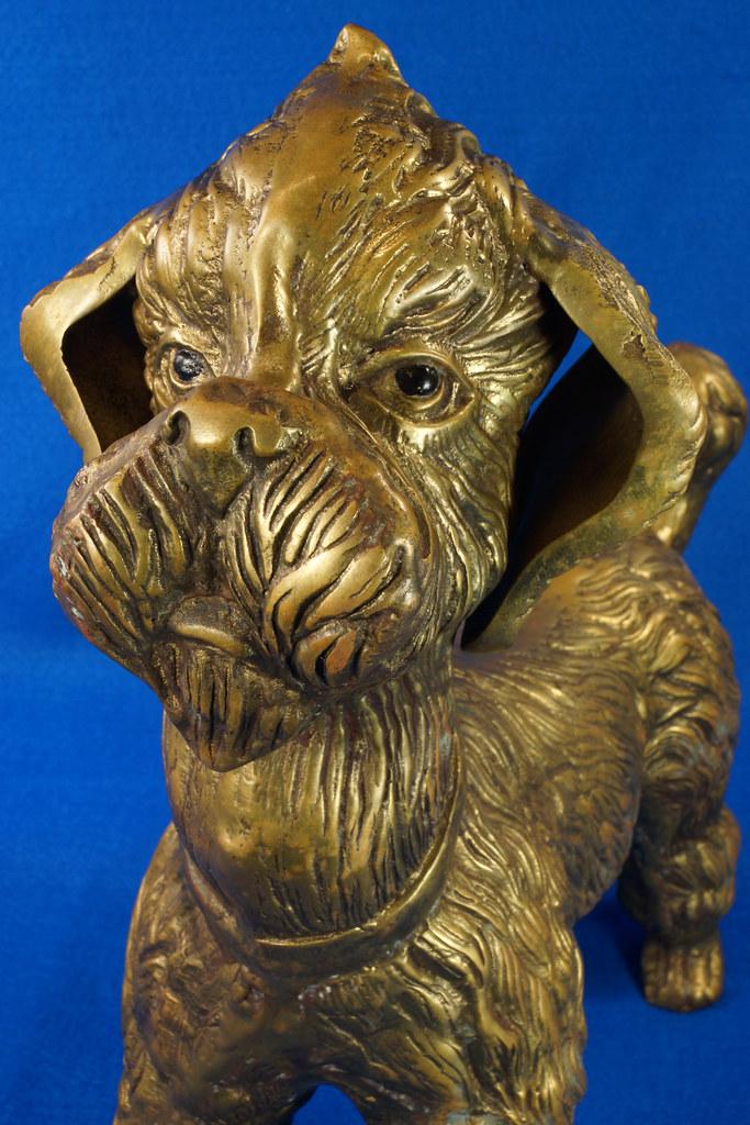 RD28815 Huge 13 inch Vintage Brass Poodle Dog Standing Sculpture DSC01112