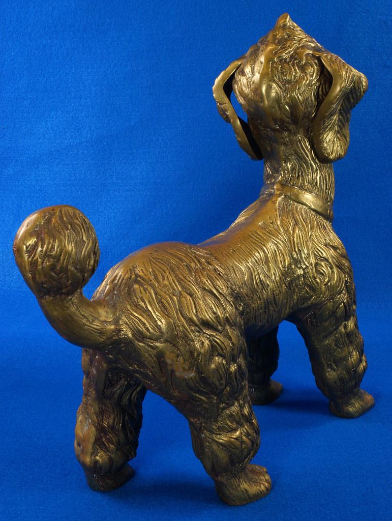 RD28815 Huge 13 inch Vintage Brass Poodle Dog Standing Sculpture DSC01108