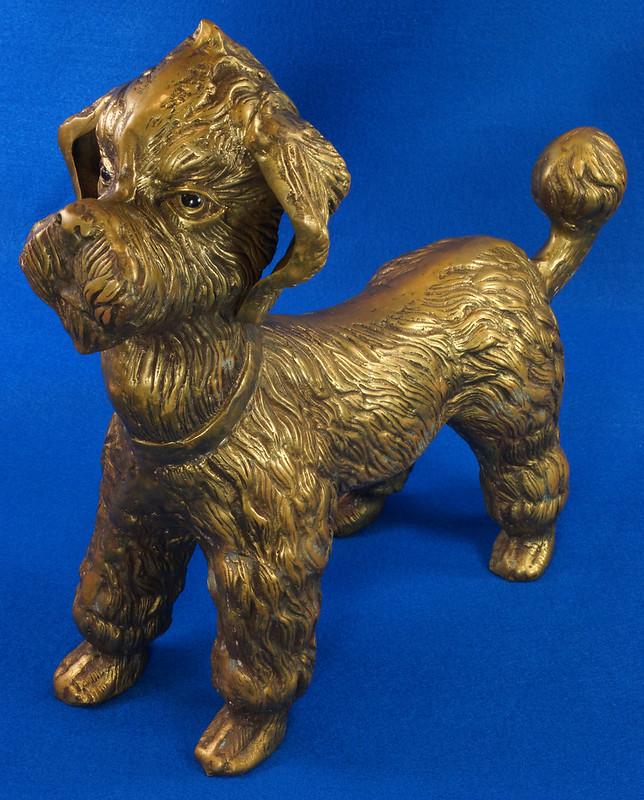 RD28815 Huge 13 inch Vintage Brass Poodle Dog Standing Sculpture DSC01104