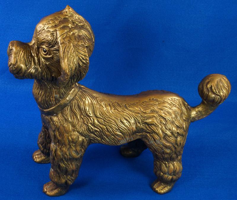 RD28815 Huge 13 inch Vintage Brass Poodle Dog Standing Sculpture DSC01102