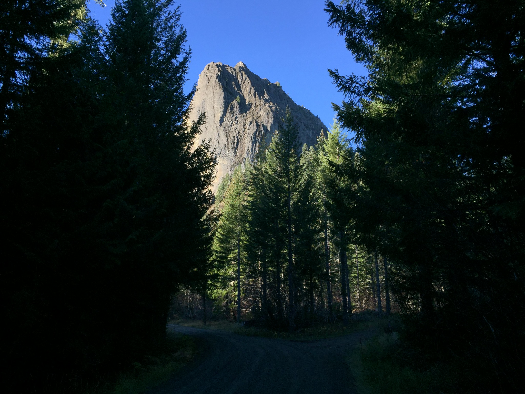Wolf Rock, towering over the road