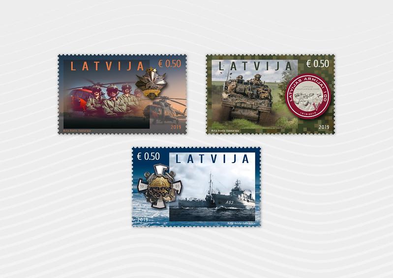 Pastmarkas Latvijas armijai 100