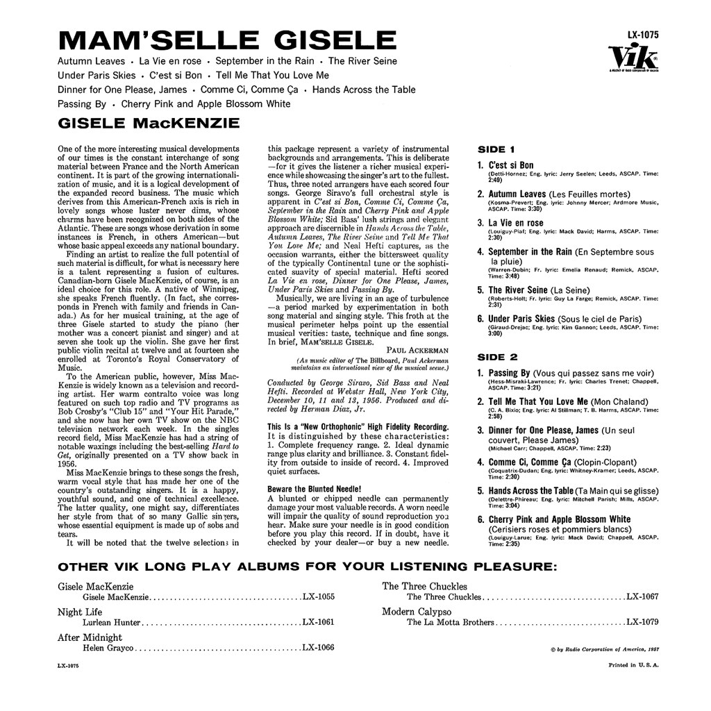 Gisele MacKenzie – Mam'selle Gisele