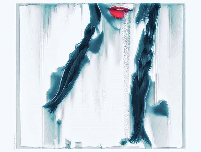 Pig tails, red lips, what else? // #glitch #glitchart #digitalart #pixelsorting #rmxbyd