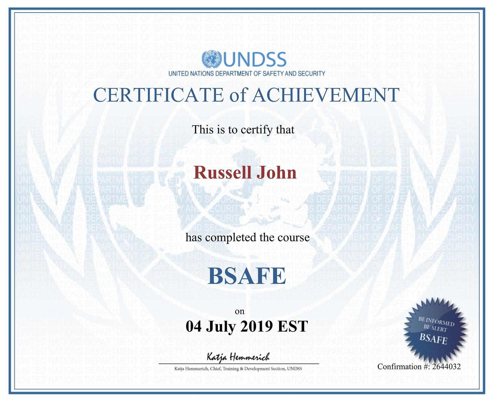 BSAFE Certificate # 2644032 - Russell John