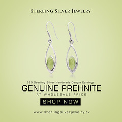 2.20ctw Genuine Prehnite .925 Sterling Silver Handmade Dangle Earrings