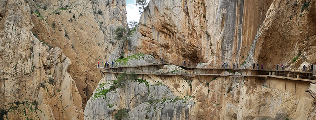 El Caminito del Rey path is placed in the middle of El Chorro Gorge