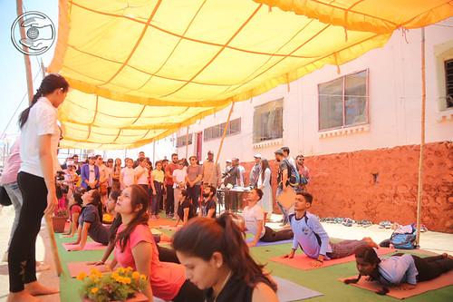 Blessings by Satguru Mata Ji on the pavilion of Yoga