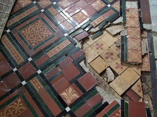 Woodwalton, Huntingdonshire, St Andrew, two layers of 19c tile