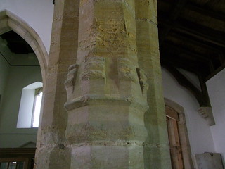 Woodwalton, Huntingdonshire, St Andrew, castellated capital on north arcade