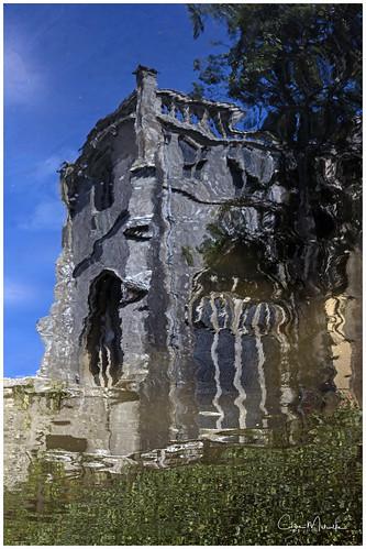 christchurch priory church reflection dorset uk water stream ripple