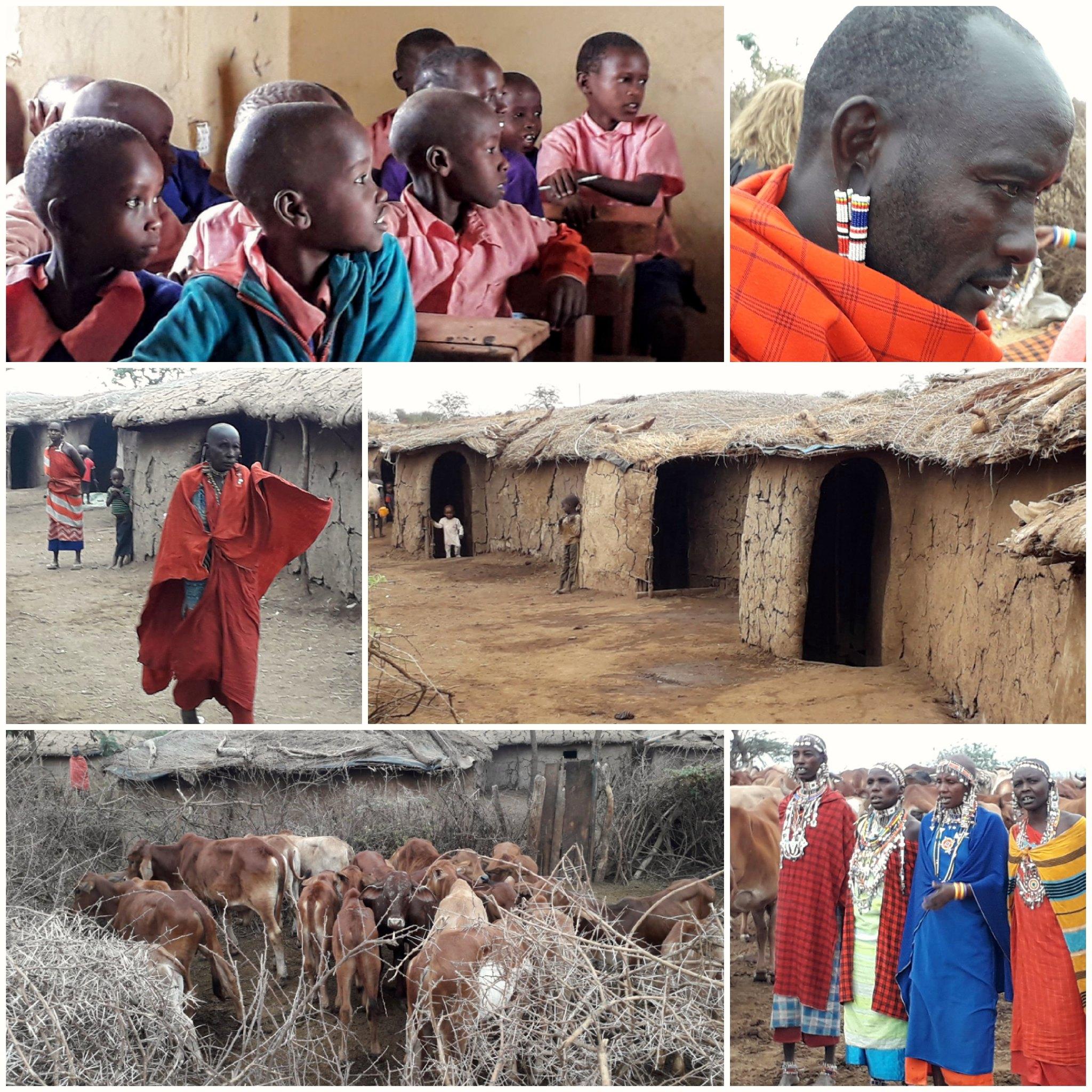 Poblado y escuela Maasai en el Parque Nacional de Amboseli (Kenya)