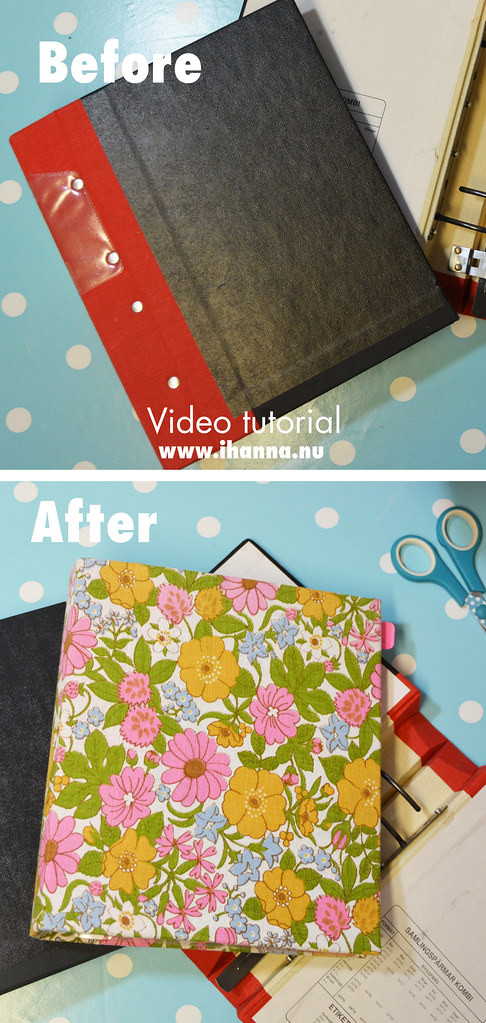 Before and After - How to cover a ring binder with fabric (video tutorial) by iHanna