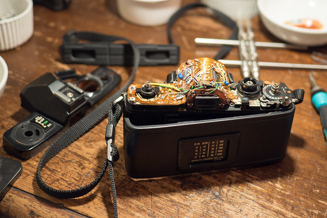 Minolta XG-9 with top plate removed