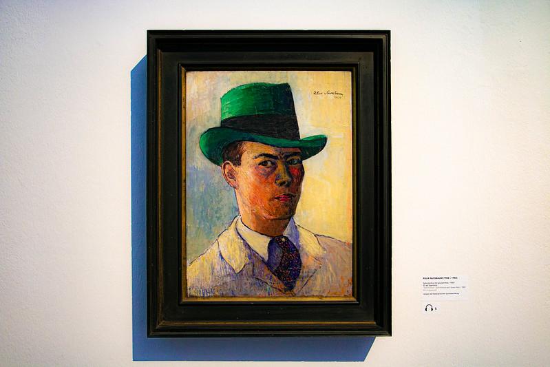 Gemälde von Felix Nussbaum, Selbstporträt des Künstlers mit grünem Hut, 1927.