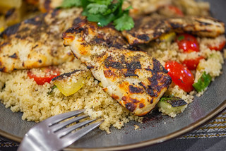 Halloumi with Za'atar and Grilled Squash Couscous