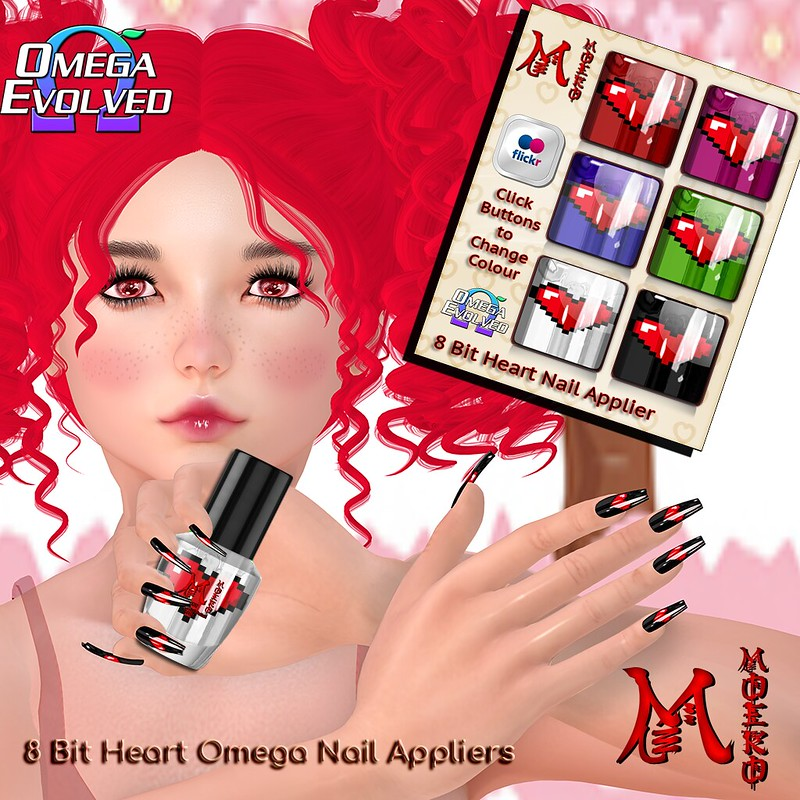 MOEKO 8 Bit Heart Nails Ad1024