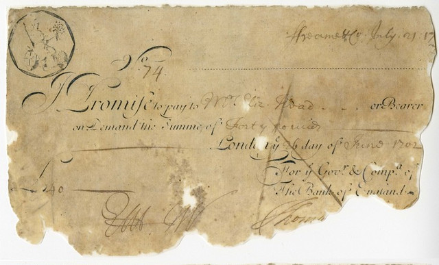 1702 banknote in the name of Elizabeth Head