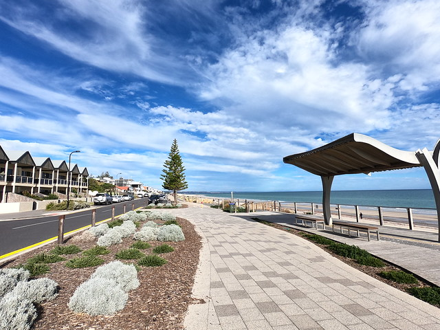 Looking south along coast at Henley Beach, Adelaide