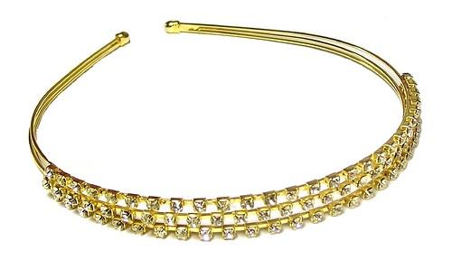 3 Row Gold Crystal Headband Tiara Bridesmaid Bridal Wedding Veil