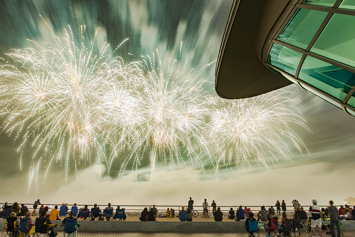 Foggy Lakefront Fireworks at Milwaukee Art Museum