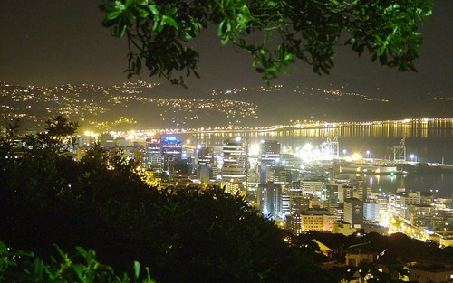 <p>Wellington city and harbour at night from the war memorial in Brooklyn</p>