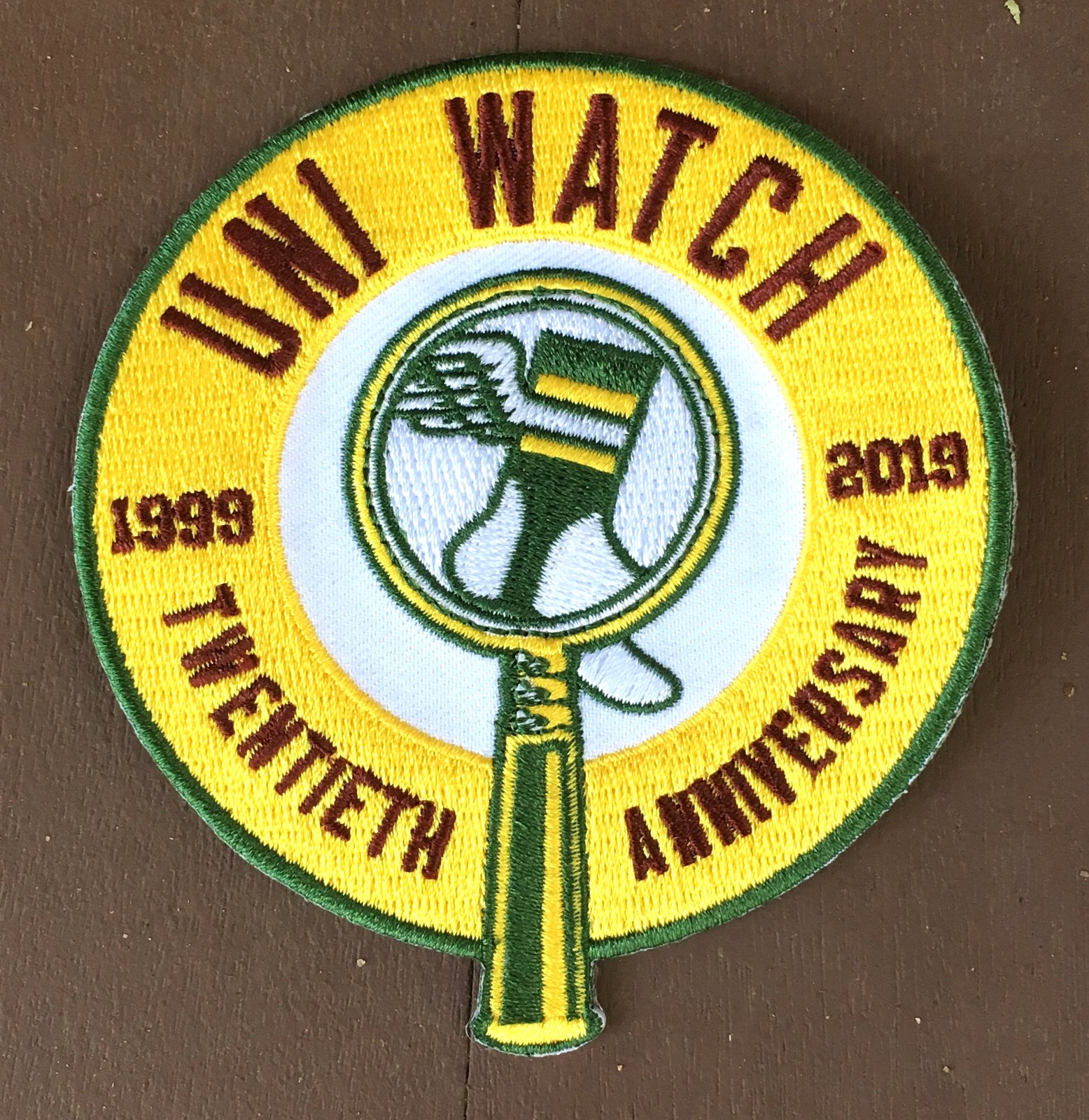 18c219bbb7c655 Uni-versary patch reminder: In case you haven't seen, the Uni Watch  20th-anniversary logo is now available as an embroidered patch.