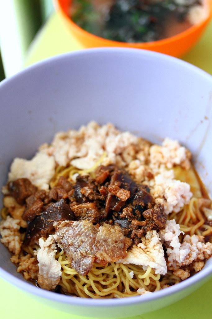 Ah Kow Mushroom Minced Pork Noodles Close Up