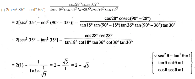 ML Aggarwal Class 10 Solutions for ICSE Maths Chapter 18 Trigonometric Identities Ex 18 Q10