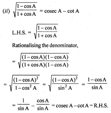ML Aggarwal Class 10 Solutions for ICSE Maths Chapter 18 Trigonometric Identities Ex 18 Q23.1