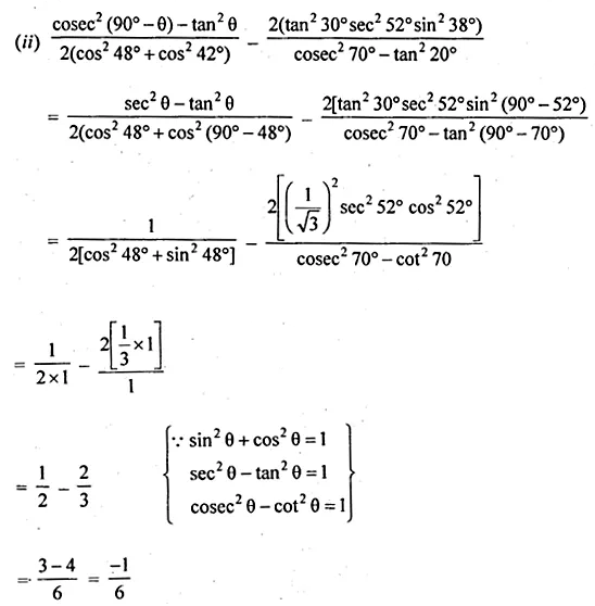ML Aggarwal Class 10 Solutions for ICSE Maths Chapter 18 Trigonometric Identities Ex 18 Q10.1