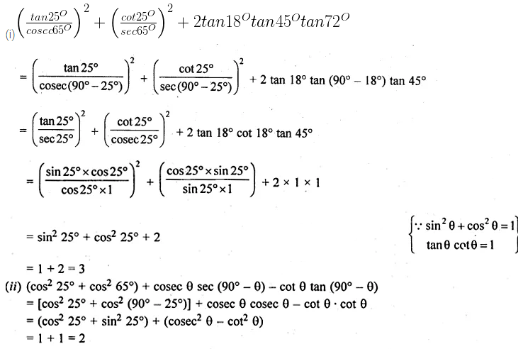 ML Aggarwal Class 10 Solutions for ICSE Maths Chapter 18 Trigonometric Identities Ex 18 Q9