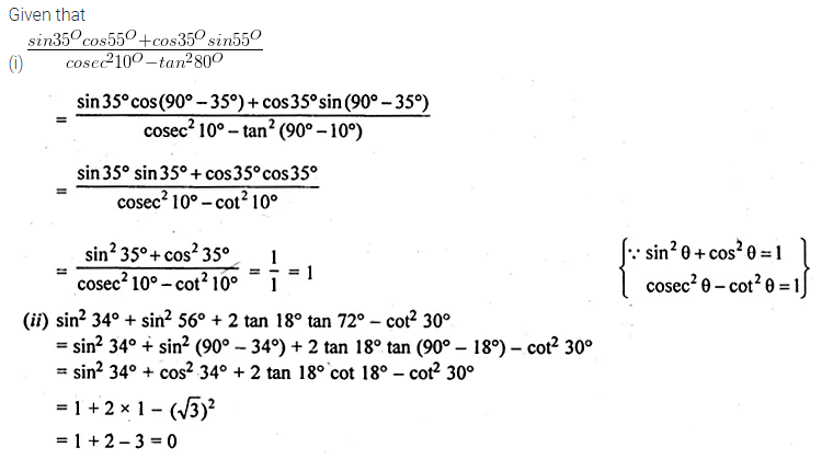 ML Aggarwal Class 10 Solutions for ICSE Maths Chapter 18 Trigonometric Identities Ex 18 Q8