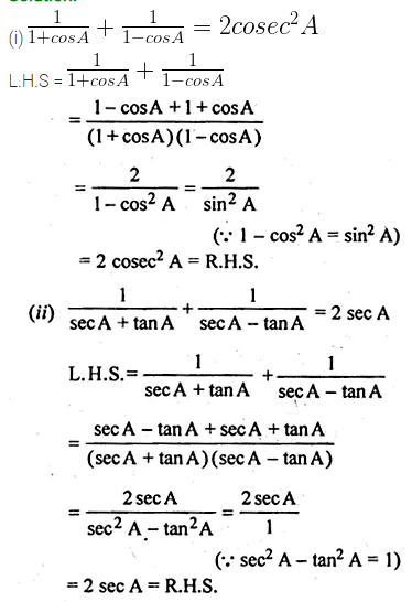 ML Aggarwal Class 10 Solutions for ICSE Maths Chapter 18 Trigonometric Identities Ex 18 Q14
