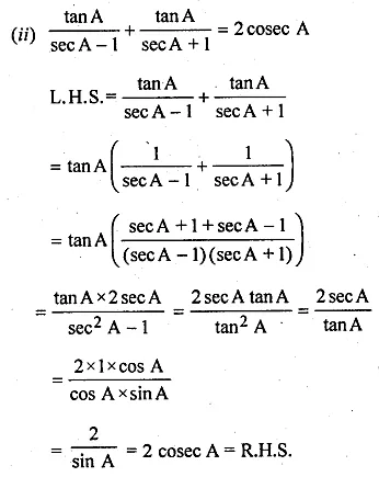 ML Aggarwal Class 10 Solutions for ICSE Maths Chapter 18 Trigonometric Identities Ex 18 Q17.1