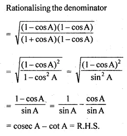 ML Aggarwal Class 10 Solutions for ICSE Maths Chapter 18 Trigonometric Identities Ex 18 Q22.1