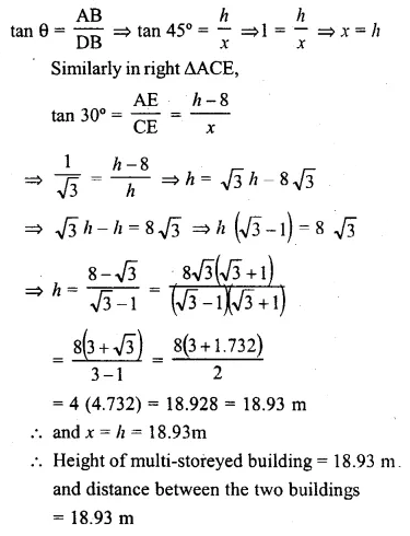 ML Aggarwal Class 10 Solutions for ICSE Maths Chapter 20 Heights and Distances Ex 20 Q32.1
