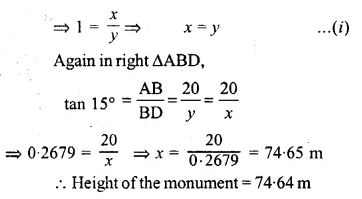 ML Aggarwal Class 10 Solutions for ICSE Maths Chapter 20 Heights and Distances Ex 20 Q35.1