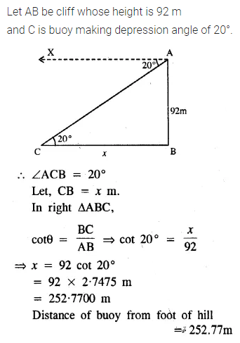 ML Aggarwal Class 10 Solutions for ICSE Maths Chapter 20 Heights and Distances Ex 20 Q7