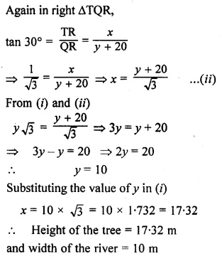 ML Aggarwal Class 10 Solutions for ICSE Maths Chapter 20 Heights and Distances Ex 20 Q17.1