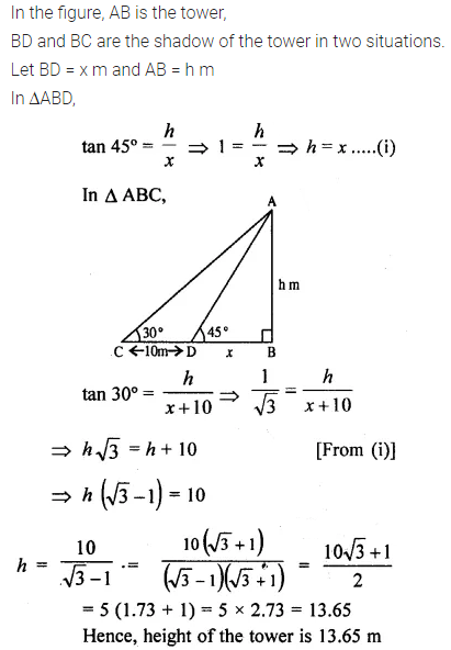ML Aggarwal Class 10 Solutions for ICSE Maths Chapter 20 Heights and Distances Ex 20 Q18