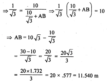 ML Aggarwal Class 10 Solutions for ICSE Maths Chapter 20 Heights and Distances Ex 20 Q28.1