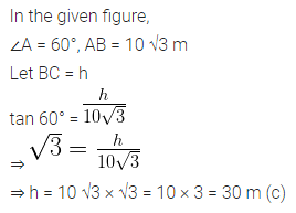 ML Aggarwal Class 10 Solutions for ICSE Maths Chapter 20 Heights and Distances MCQS Q2.1